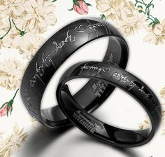 His and Her RINGS Personalized Black Wedding by MymomentJewelry, $165.00 4mm and 6mm NJ