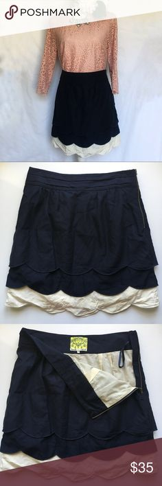 Floreat // Scalloped Cloud Skirt - navy A gorgeous scalloped  cloud skirt from Floreat sold at Anthropologie. Navy overlay and white underskirt. Cotton and silk blend. Pleated waistband. In excellent condition. Anthropologie Skirts Mini