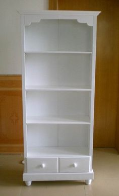 White Wooden Bookshelf with Drawers, View bookshelf, bookcase from ...