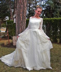 Layers of Lovely Lace-Vintage1950s  Ivory Wedding Gown/Dress Beautiful Lace Sleeves-Small/XS. $295.00, via Etsy.