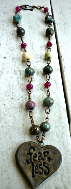 Fear Less Gemstone ceramic and Vintaj chain by McKeeJewelryDesigns