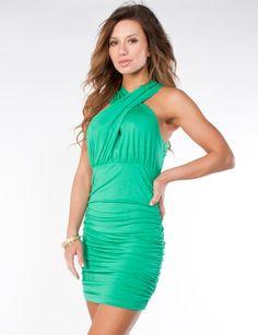Sexy dress in bright emerald green from FlirtCatalog.com <3