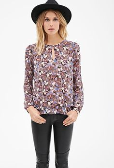 Butterfly Print Keyhole Top | LOVE21 - 2000080873- SHOULD WE BUY FOR MOM?