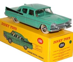 #diecast #Dinky Atlas 191 Dodge Royal Sedan new or updated at www.diecastplus.info 60s Toys, Retro Toys, Vintage Toys, Corgi Toys, Hobby Toys, Matchbox Cars, Elm Street, Old Models, Hot Wheels