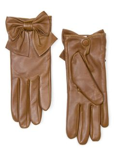 Mango Bow Leather Gloves in Brown