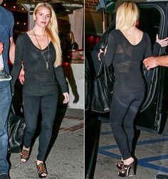Jessica Simpson looks svelte in a sheer black top and black jeans during a night out in Calabasas, CA