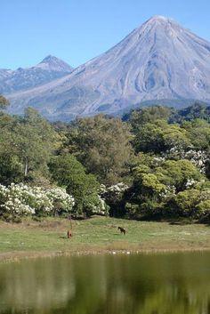 Paisaje de  Comala, Colima con la hermosa vista de los volcanes de fuego y nieve  de Colima. Solo aqui en México  :)