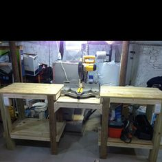 My Miter Saw Table that I built! Cost me about $60.00. Still a work in progress, but at least the table part is done.