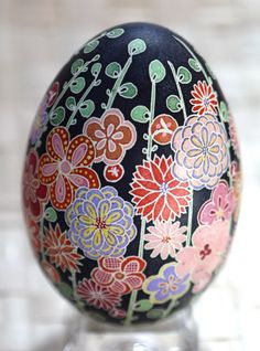 Artist Katy David does amazing Pysanky eggs. Her blog details each egg design: katyegg.blogspot.... Her flicker stream has tons of photos: www.flickr.com/...