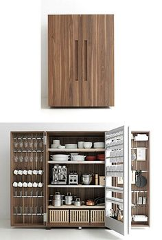 Chefs kitchen storage. Custom cabinetry. Walnut oak.
