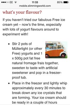Slimming World frozen yogurt ice cream - free