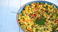 Letní pasta salát Foto: Thinkfood.cz Pasta Salat, Think Food, Grains, Rice, Fresh, Seeds, Laughter, Jim Rice, Korn