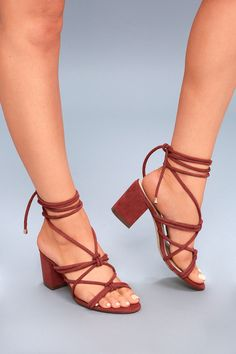 Abbie Rust Red Suede Lace-Up Heels 3