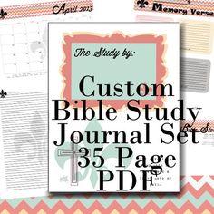 Custom BIBLE Study Notes and Prayer Journal and References - 35 PDF Printables -Chevron Theme