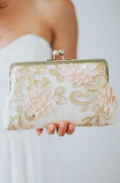 Champagne Floral Sequin Cluth