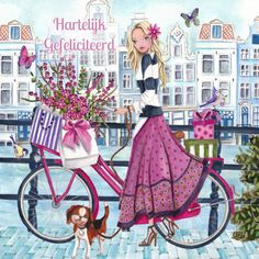 Illustration by Caroline Bonne Muller at Cartita Design Art And Illustration, Illustration Mignonne, Bicycle Illustration, Art Fantaisiste, Amsterdam Art, Art Mignon, Buch Design, Bicycle Art, Whimsical Art