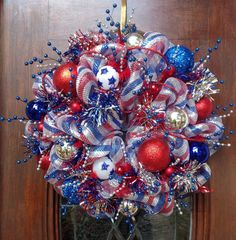 Red Silver and Blue Patriotic  Deco Mesh Wreath by HertasWreaths, $125.00