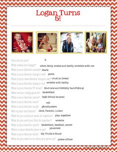 birthday questions for each year! I'm so doing this with all my girls!