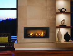 Chic Linear Fireplace Provides Sophisticated Fire Element To Your Home: Fantastic Linear Fireplace With Fireplace Surround And Floating Shelves Also Wood Flooring For Living Room
