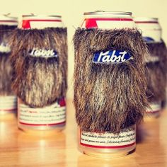 Handmade beard cozy adds a bit of style and fun to your canned beverage. - FOR THAT YETI THEMED PARTY YOU NEVER MEANT TO HAVE.