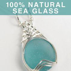 Aqua Sea Glass Jewelry Beach Glass Pendant by SeaGlassJournal, $79.00 pretty p/i
