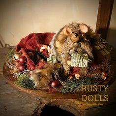 Santa's Hat - Christmas Mouse - Art Doll - Doll - Table Centerpiece - Christmas Art Doll - Christmas Decor - Winter Decor - Polymer Clay by RustyDolls on Etsy Shades Of Burgundy, Burgundy And Gold, Christmas Art, Christmas Decorations, Hand Shapes, Polymer Clay Art, Santa Hat, Table Centerpieces, Candy Cane