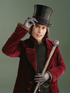 Johnny Depp nei panni di Willy Wonka nel film del 2005 La fabbrica di cioccolato