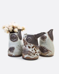 A one-of-a-kind, hand-sculpted ceramic bird pitcher to hold your favorite beverage or flowers. Choice of Long beak (Toucan) or Short Beak (Bird). Clay Birds, Ceramic Birds, Ceramic Vase, Vase With Lights, Vases, Effigy, Oil Bottle, Eye Shapes, Cute Creatures