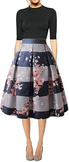 01d43cfad8 Hanlolo Women's Floral Midi Skirts High Waisted A-Line Cocktail Party Prom  Skirt at Amazon Women's Clothing store: