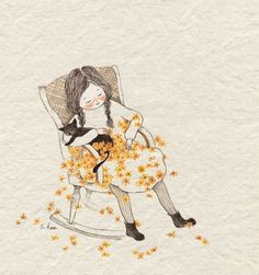 Drawing, woman, Yelloy collected all the best illustrations and sketches. Art And Illustration, Illustrations, Cat Drawing, Painting & Drawing, Korean Artist, Cute Images, Whimsical Art, Cat Art, Watercolor Art