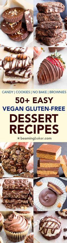50+ Easy Vegan Dessert Recipes (V, GF): The ultimate collection of seriously satisfying, easy vegan dessert recipes for sweets lovers everywhere! #Vegan #GlutenFree #DairyFree #Paleo #Dessert | Recipes on BeamingBaker.com