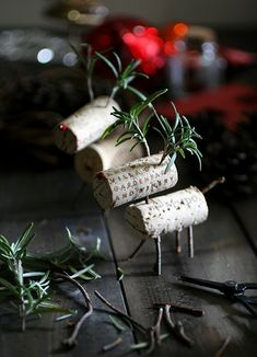 Reindeer (decoration, ornaments) made of wine corks, some branches or twigs and use of fresh rosemary.  ~cam