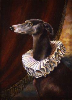 Greyhound Dog Portrait by CuriousPortraits on Etsy