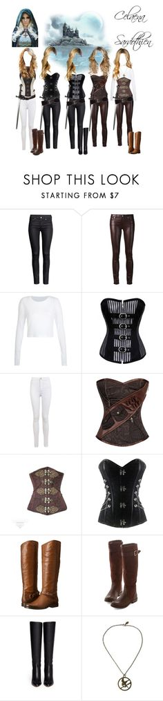 """Celaena Sardothien- Throne of Glass- Sarah J. Maas"" by camilacm ❤ liked on Polyvore featuring H&M, BLK DNM, Miss Selfridge, Frye, Jimmy Choo and Express"
