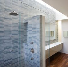 An old installation, but still a favorite. We'd have a hard time matching the variation of this install if we were to recreate it today, due to having since moved tile production from our Sausalito factory to our SF factory, ensuing glaze reformulations, and other fun nuances of smallish-scale tile production. But regardless, Crystal Blue sure looks good in this bathroom. Design: @mediumplenty. 📷: @marikoreed