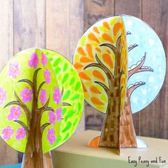 Four Seasons Tree Craft With Template Tree crafts Craft and Fall Crafts For Kids, Projects For Kids, Art For Kids, Art Projects, Seasons Activities, Art Activities, Tree Crafts, Flower Crafts, Four Seasons Art