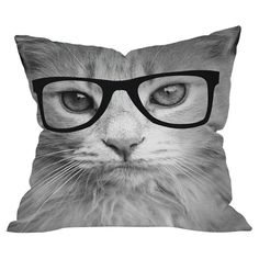 we all have a friend who needs a hipster cat pillow.