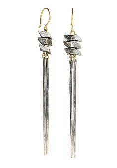 Tri Range Dangles by Sophie Hughes: Gold & Silver Earrings available at www.artfulhome.com