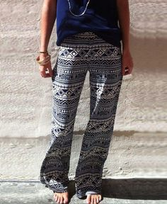 f0ca65fc5ff7 US $9.55 8% OFF|Aliexpress.com : Buy Palazzo Pants women high waist wide leg  bohemian boho pants pantalon palazzo mujer harem ethnic print sweatpants  women ...