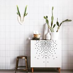 Our Eco Deer Wall Vases are just so cool.. I love this look for the bathroom. a little something to jazz up boring tiles!! Link to buy in bio #bathroominspo  image source : eco deer