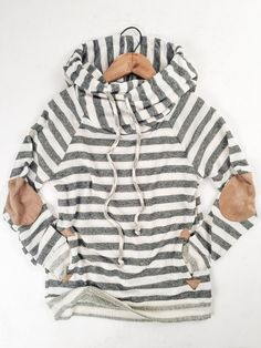therollinj.com Cozy Cowl Neck Hoodie. The cutest sweatshirt ever! Casual and cute. Effortless style. Stripes and elbow patches.