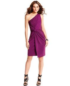 DKNYC Dress, Sleeveless Knotted One-Shoulder Sheath - Womens Dresses - Macy's