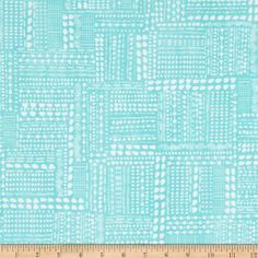 Blush & Blooms Dotted Patchwork Aqua from @fabricdotcom  Designed by Melissa Ybarra for Windham Fabrics, this cotton print collection features geometric tribal designs and gorgeous florals. Colors include aqua and white.