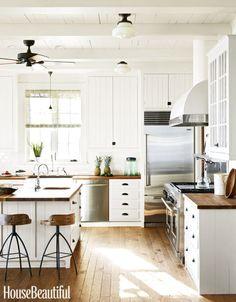 Modern Farmhouse Kitchen Cabinet And Countertops Ideas Diy Cabinets Walnut . modern farmhouse kitchen white cabinets walnut and ivory. antique looking kitchen cabinets island with seating. Farmhouse Kitchen Cabinets, Modern Farmhouse Kitchens, Kitchen Cabinet Design, Country Kitchen, New Kitchen, Home Kitchens, Kitchen Decor, Kitchen Ideas, Farmhouse Style