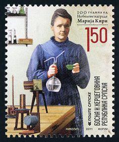 Stamp: Marie Curie - (Bosnia and Herzegovina, Serbian Administration) (Nobel Laureats) Mi:BA-SR 487 Marie Curie, Stamp World, Nobel Prize In Physics, Prix Nobel, Nobel Prize Winners, Visual And Performing Arts, Love Stamps, Bosnia And Herzegovina, Stamp Collecting