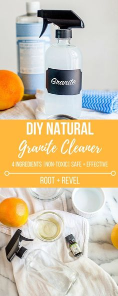 With just 4 ingredients, this DIY Natural Granite Cleaner Spray, made without vinegar, will clean and disinfect your countertops. The homemade recipe is best for organic housekeeping and those looking for safe, non-toxic cleaning options. And it smells amazing thanks to essential oils!