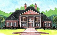 Georgian Style House Plans - 3859 Square Foot Home , 2 Story, 6 Bedroom and 5 Bath, 3 Garage Stalls by Monster House Plans - Plan 66-373