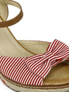 Pavers England Women Red & White Wedges | Myntra | Bows & Stripes | INR 1,999