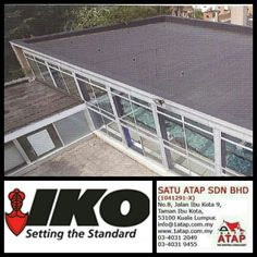 Sustainable flat roof waterproofing Iko carbon.   Benefits: *Roof resistant variant *Aesthetic black finish *Flexible, even at low temperatures.  Contact us  ☎03-40319455 (office hour)  📲whatsapp 019-656 0961 💻www.1atap.com.my
