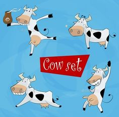 Cartoon Cow in Various Poses